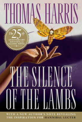 "Book cover with a woman's hand is held out and above it flies a yellow and brown moth with a human skull on its back. The cover reads ""Thomas Harris, The Silence of the Lambs"""