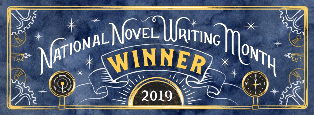 "A blue, black, and gold banner that reads ""National Novel Writing Month Winner 2019"""